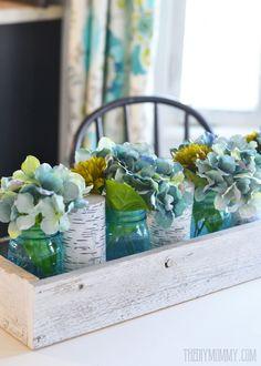 Rustic Spring Planter Box Centerpiece with Mason Jars & Hydrangeas | The DIY Mommy