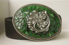 Lucky Four Leaf Clover Mosaic Belt Buckle on Etsy, $75.00