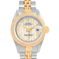 18637 Rolex Datejust 26 Steel Yellow Gold Pyramid Dial Ladies Watch 69173 SwissWatchExpo