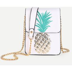 SheIn(sheinside) Sequin Pineapple Design Flap Pouch Bag ($17) ❤ liked on Polyvore featuring bags, handbags, shoulder bags, white, pineapple handbag, pineapple purse, white handbag, sequined clutches and flap handbags