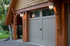Garage door pergola plans Ideas for 2019 Grey Garage Doors, Garage Door Colors, Wooden Garage Doors, Garage Door Styles, Garage Door Design, Front Door Colors, Wooden Garages, Barn Doors, Craftsman Exterior