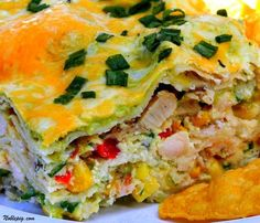 Chicken Poblano Casserole with Bell Peppers, Ricotta Cheese, Chicken, and Cilantro