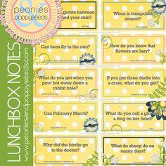 Peonies and Poppyseeds: School Notes: Lunch Joke Printables for Spring
