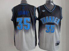 Thunder  35 Kevin Durant Black Grey Fadeaway Fashion Stitched NBA Jersey ebd614057