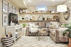 Cozy Basement Family Room Reveal with @raymourflanigan #sponsored #ad #finishedbasement