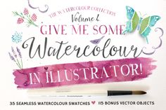 Check out Give me Watercolour in Illustrator! by Nicky Laatz on Creative Market; I love this artist's work. Now... to find a bride who will let me design her invitations with it!! Anyone??