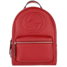 Gucci Shoulder Bag - Soho Backpack Grained Leather Hibiscus Red - in... ($1,650) ❤ liked on Polyvore featuring bags, red, gucci, handle bag, full grain leather bag, shoulder bag backpack and logo bags
