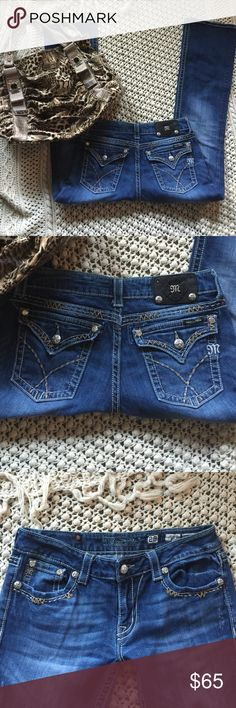 ❌ON HOLD❌MISS ME JEANS Sz. 29 Bootcut 💕👖🌺☀️😊 awesome!!💕 A couple flaws but overall great condition!! Women's Bootcut MISS ME jeans Sz. 29. A medium to dark wash with a hint of factory washed/worn/distressed look. Neat back pockets w/Rhinestones & silver hardware & neat stitching!! A little stretch to them! ✅note the couple flaws- shown in photos!! The top 2 silver studs are missing on the upper back patch, some fray- on the bottom of the back legs- not to noticeable when wearing!! In my…