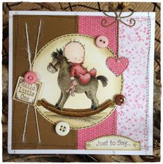 LOTV - Rocking Horse by DT Lou I like the threaded string idea Z Cards, Cool Cards, Kids Cards, Baby Girl Cards, New Baby Cards, Prima Doll Stamps, Horse Cards, Congratulations Baby, Handmade Card Making