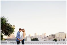 Portland engagement photos on top of a parking garage in the Pearl District
