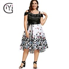 Tag a friend who would love this!     FREE Shipping Worldwide     Buy one here---> https://www.savingsonfashion.com/plus-size-5xl-off-the-shoulder-butterfly-print-dress-summer-2017-black-white-sexy-elegant-beach-party-midi-dress-big-size/