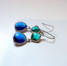 Emerald green and cobalt blue glass silver dangle earrings.  Bridal earrings.  Bridesmaids earrings.  Bridesmaid earrings. Wedding jewelry. on Etsy, $32.00