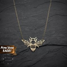 SALE Bee necklace origami gold bee necklace geometric by ByYaeli