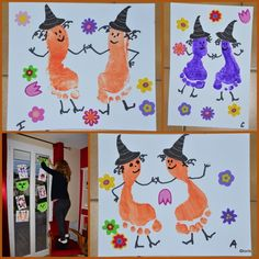 witches with footprints - halloween - Dulceros Halloween, Halloween Crafts For Toddlers, Halloween Activities, Holidays Halloween, Halloween Themes, Halloween Decorations, Toddler Art, Toddler Crafts, Manualidades Halloween