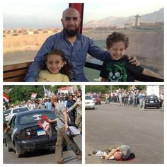 A picture of the first Martyrs(mohammed sobhy) In the Egyptian massacres with his young kids! Shot for holding a picture &supporting democracy !