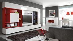 Mobiliario de hogar con muebles rojos