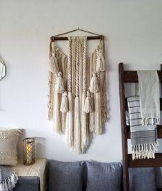 Yarn Wall Art, Yarn Wall Hanging, Large Macrame Wall Hanging, Wall Hangings, Jute Twine, Wall Spaces, Wooden Beads, Ladder Decor, Wool Blend