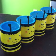 Bee coffee cans! Maybe used as a game? Throw a ping pong into them?
