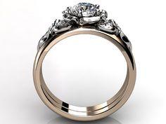 14k two tone rose and white gold diamond unusual unique flower engagement ring, wedding ring, flower engagement set ER-1066-6 on Etsy, $1,160.00