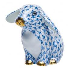 Herend Hand Painted Porcelain Figurine of Sitting Up Bunny w Ears Down, Blue Fishnet w Gold Accents.