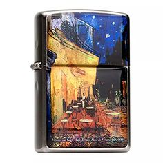 Mother of Pearl Handmade Cafe Terrace at Night by Van Gogh Painting Flip Top Windproof Metal Chrome Pocket Oil Cigarette Tobacco Smoking Camping Zippo Lighter