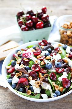 Balsamic Grilled Cherry, Blueberry, Goat Cheese, and Candied Hazelnut Salad Recipe //