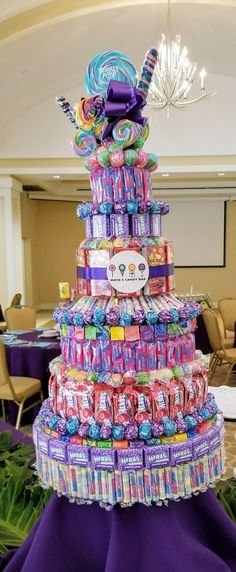 This would be perfect for a school raffle prize. This would be perfect for a school raffle prize. Candy Birthday Cakes, Candy Cakes, Candy Gift Baskets, Candy Gifts, Friend Birthday Gifts, Diy Birthday, Candy Bouquet Diy, Candy Boquets, Candy Wreath