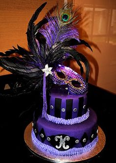 Would like to add another accent color.green and gold.then it would be a perfect Mardi Gras cake:) Masquerade Cakes, Sweet 16 Masquerade, Masquerade Theme, Masquerade Wedding, Masquerade Ball, 16 Birthday Cake, 30th Birthday Parties, Sweet 16 Birthday, Geek Birthday