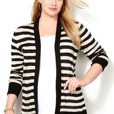Lightweight Striped Cardigan-Plus Size Cardigan-Avenue