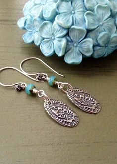 Artisan sterling silver earrings // Bali by CountryChicCharms, $28.00