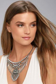#AdoreWe #Lulus Lulus❤️Designer Womens Delight and Dazzle Silver Rhinestone Statement Necklace - AdoreWe.com