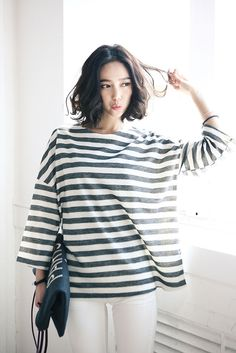 Loose Stripe 3/4 Tee