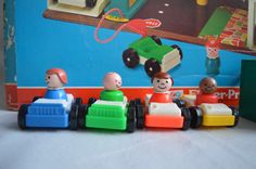 Vintage Fisher Price Garage Box and Cars