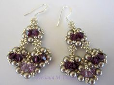 Beaded Earrings with amethyst Swarovski crystals