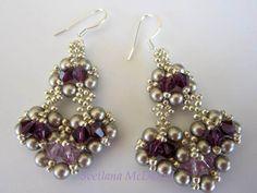 Beaded Earrings with amethyst Swarovski crystals--Materials: 40 4mm platinum pearls, 12 4mm amethyst crystals, 4 4mm light amethyst crystals, 11/0 SB