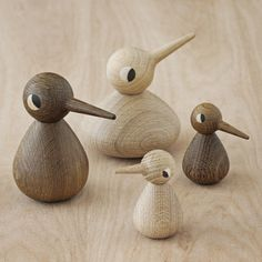 Birds in smoked or nature oak from Architectmade. Available in small, large, and chubby. Design: Kristian Vedel.
