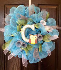 Custom Order Baby Boy Deco Mesh Wreath by Welcome Home Wreath
