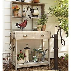Potting bench. Love the water pump! #springintothedream