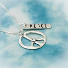 Peace Heart Necklace Sterling Silver Peace Love Necklace | Etsy