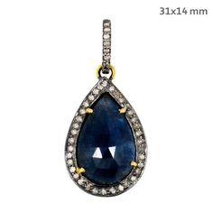 Vintage Gemstone Sapphire DROP Pendant 14 K Gold Pave Diamond 925 Silver Jewelry #Handmade