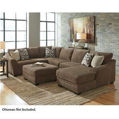 Ashley Justnya Brown Chenille Chaise Sectional