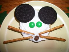 If You Give a Mouse a Cookie - - Sugar Cookie, white icing, oreo cookie for the ears, pretzel sticks as wiskers and m for the eyes and nose! My kids made these and had a blast!