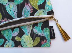 Foldover Canvas Clutch or iPad Case with Vibrant Prickly Pear Cactus Print