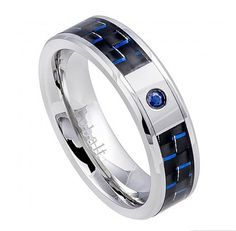 6MM Men Women Unisex His Hers Wedding Engagement Band High Polish Cobalt Ring 0.05 Carat BLUE SAPPHIRE Stone Blue Black Carbon Fiber Inlay