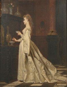 Wladyslav Bakalowicz (1833-1904) - Lady in white with porcelain dishes