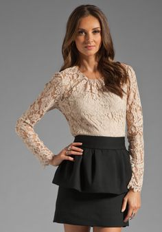 MILLY Floral Scallop Lace Ivy Blouse in Ballet at Revolve Clothing - Free Shipping!-- I'd love this!