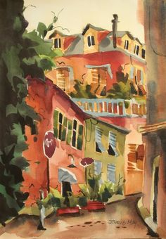 "Santa Margherita ,Italy Osteria #7 En plein air watercolor 21""x15"" www.jinniemay.com"