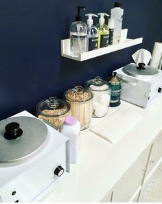 Get a shelf like this to put above table and above wash sink