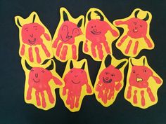 Cares de dimoni amb les mans estampades. Advent, Devil, Kindergarten, Saints, Arts And Crafts, Halloween, Winter, Christmas, School