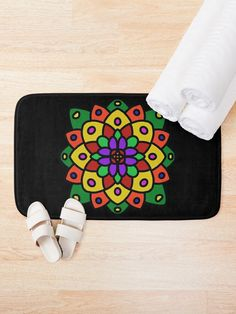 """Flower of Life Mandala"" Bath Mat by Pultzar 